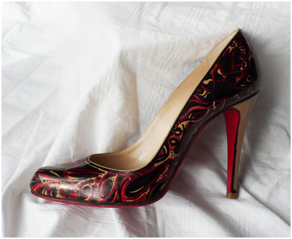 Christian Louboutin DIY graffiti with Red and Black Sharpie markers