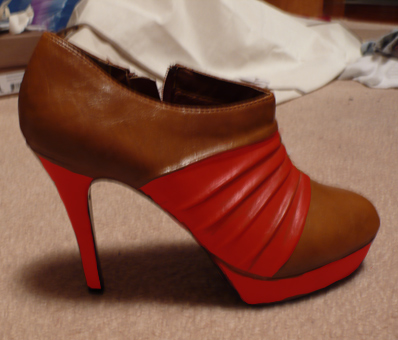 Dark, red, and rose stripes added to pleated tan platform booties