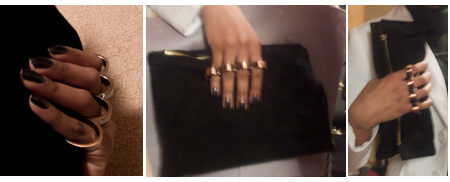 Brass knuckle black suede clutch purse, diy
