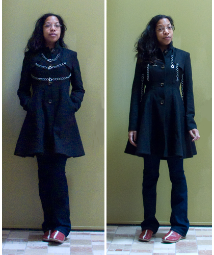 ASOS coat with chains sewn to shoulders.