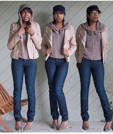 Blue skinny jeans, sheer rose zipper front hoodie, rose faux leather jacket, grey and pink heels
