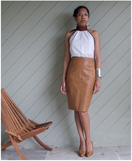 Homemade halter neck blouse, brown faux leather skirt, brown pumps, silver jewellery