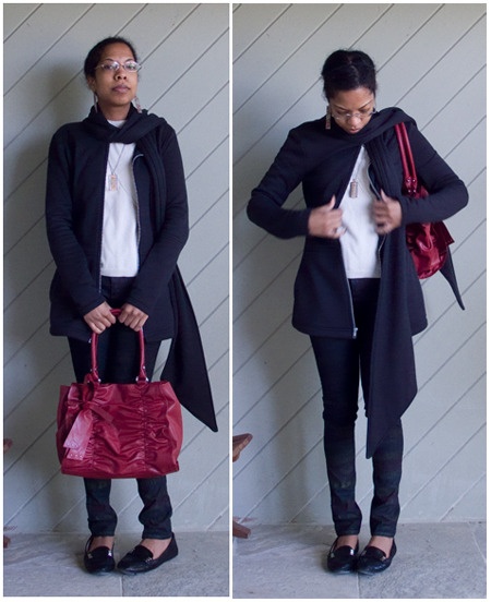 DIY Crayola pants, white t-shirt, black scarf jacket, black patent snake skin loafers, cherry red bag
