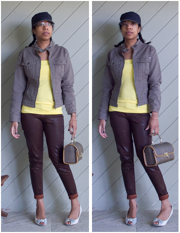 Brown leather look pants, yellow tube top, military green denim jacket, blue cap, striped box purse, grey/green floral bow peep toe pumps