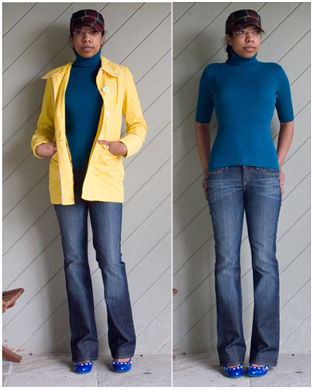 Blue straight legged jeans, turquoise short sleeved turtleneck sweater, blue lower DIY pumps, yellow jacket, plaid cap