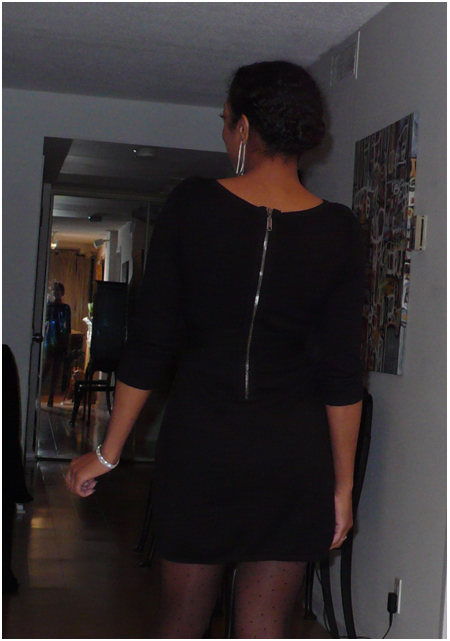 Black back zip boat neck sweater dress, polka dot sheer hose, black pumps with silver capped toes, silver jewellery, vicini