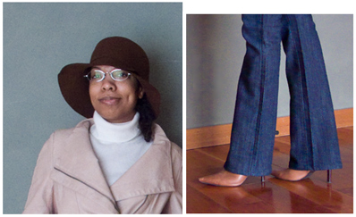Blue straight leg jeans, cream turtleneck, faux leather and knit panel rose jacket, brown floppy hat, tan pointy boots