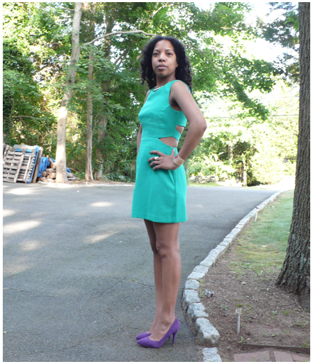 Green cut out dress, cream cuff, purple Pour La Victoire Daina pumps, silver necklace