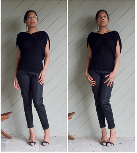 Black knit loose top, black leather look pants, taupe heels with black bows, cherry red bag, cream trench with black edging