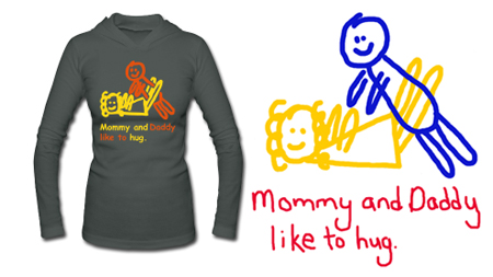 Straight legged blue jeans, Mommy and Daddy Like to Hug Naughtygirlx.com hoodie, red cap, white and blue plaid oxfords