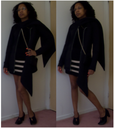 banded skirt, black cashmere t-shirt, black purse with chain strap, leather cuff, black shooties, black scarf jacket