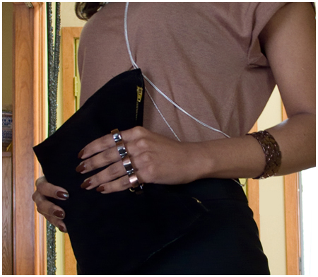 Dusty rose knit tee, black pencil skirt, brass knuckle black clutch, silver cross body necklaces, black edged cream trench, black pumps