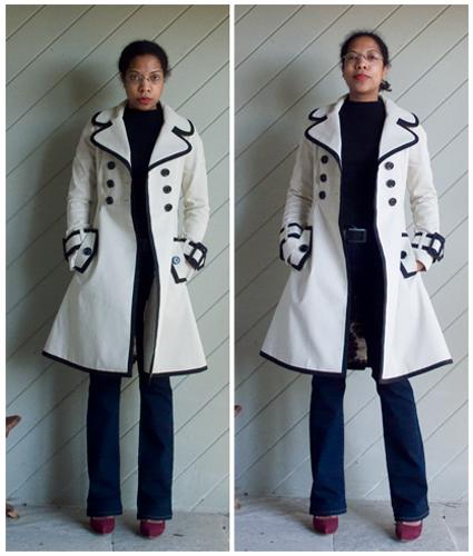 Kate Spade black edged cream trench, blue straight leg jeans, black turtleneck, maroon pumps