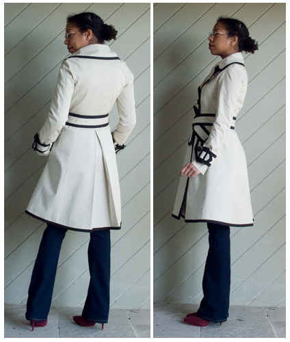 Kate Spade black edged cream trench, blue straight leg jeans, black turtleneck, maroon pumps