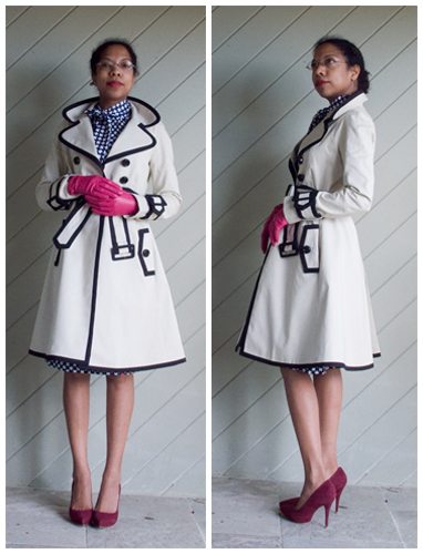 Kate Spade black edged cream trench, blue with white flower polka dots pussy bow dress, maroon pumps, pink gloves