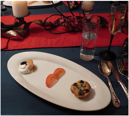 Appetiser: Seared scallops with sage cream and caviar, and escargots quiche.