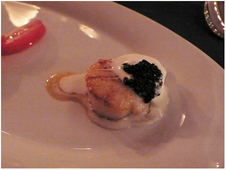 Scallops with sage cream and caviar.